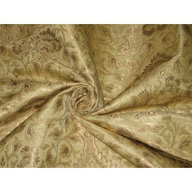 Heavy Silk Brocade Fabric Gold & Metallic Gold