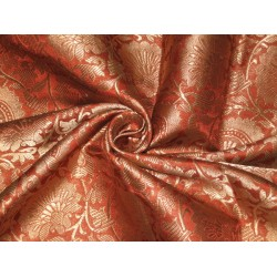 Pure Heavy Silk Brocade Fabric Rust & Metalic Gold