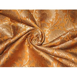 Pure Heavy Silk Brocade Fabric Mango & Metalic Gold