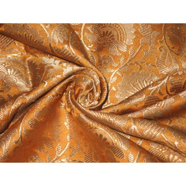 Heavy Silk Brocade Fabric Mango & Metallic Gold