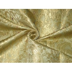 Pure Heavy Silk Brocade Fabric Dull Gold,Red & Gold