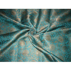 Pure Heavy Silk Brocade Fabric Blue & Metalic Gold