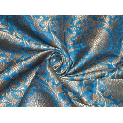 Heavy Silk Brocade Fabric Blue & Metalic Gold