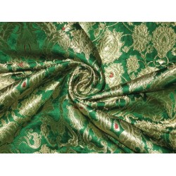Pure Heavy Silk Brocade Fabric Green,Red & MetalicGold