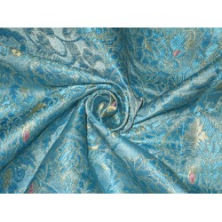 Pure Heavy Silk Brocade Fabric Blue,Pink & Light Gold