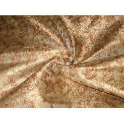 100% Pure Silk Brocade Fabric Brown & Gold color