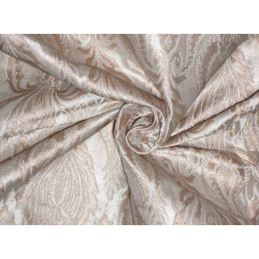 Silk Brocade Fabric Metallic Gold & Cream