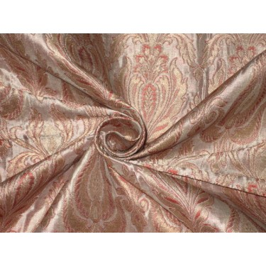Heavy Silk Brocade Fabric Pale Pink & Metallic Gold Bro118[2]