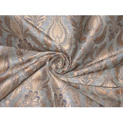 Heavy Silk Brocade Fabric Pale Blue & Metallic Gold