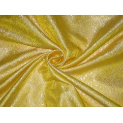 100% Pure Silk Brocade fabric Lime Yellow & Cream 44""