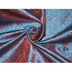 Silk Brocade fabric Rust & Blue iridescent