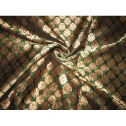 Silk Brocade fabric Green & Antique Gold 44""