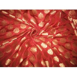 100% Pure Silk Brocade fabric Red & Antique Gold 44""