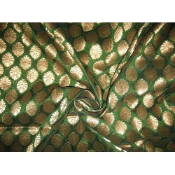 semi sheer Brocade fabric Green & Antique Gold 44""
