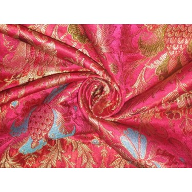 Heavy Silk Brocade Fabric Pink,Green & Metallic motifs