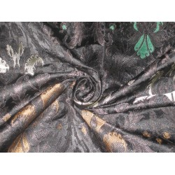 Heavy Silk Brocade Fabric Black,Green & Metallic motifs