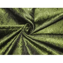 100% Pure Silk Brocade fabric Green & Black VictorianBRO120[4]
