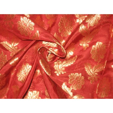 Silk Brocade fabric Red & Antique Gold 44""