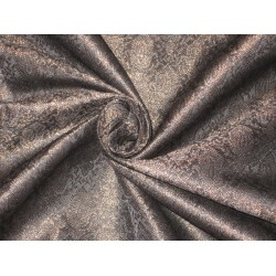 Heavy Silk Brocade Fabric Black & Metallic Bronze 44""