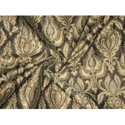 Heavy Silk Brocade Fabric Black,Bronze & Olive Grey 44""