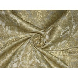 Silk Brocade Fabric Ivory & Metallic Gold BRO124[1]