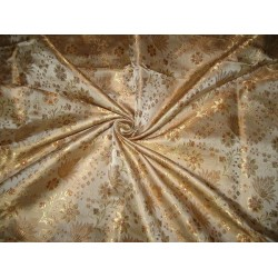 100% Pure Silk Brocade fabric Gold & Brown colour