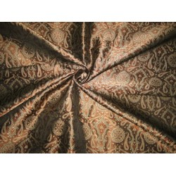 Pure Silk Brocade Fabric Gold,Brown & Black Victorian