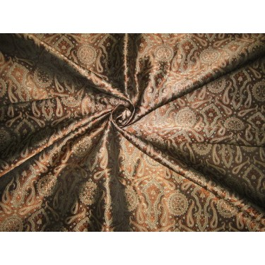 Silk Brocade Fabric Gold,Brown & Black Victorian