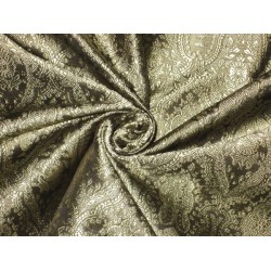 Pure Silk Brocade Fabric Golden Cream & Black Victorian