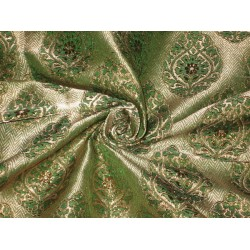Pure Silk Brocade fabric Metallic Bronze & Green 44""