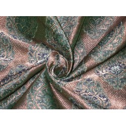 Pure Silk Brocade fabric Metallic Antique Gold & Teal