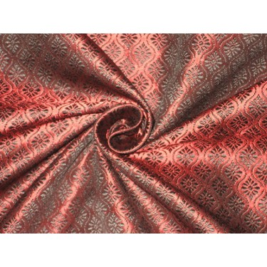 """Brocade fabric Black & Wine Red Colour 44"""" wide sold by the yard"""