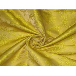 100% Pure Silk Brocade Vestment Fabric Yellow