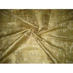 Heavy Pure Silk Brocade Fabric Metallic,Wine & Gold 44""