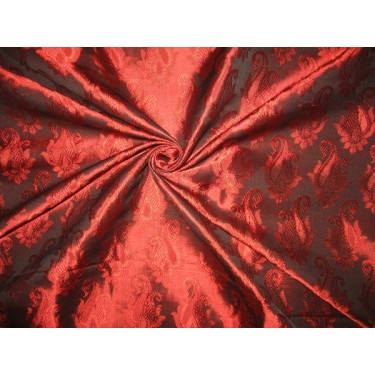 Brocade fabric Ruby Red Color