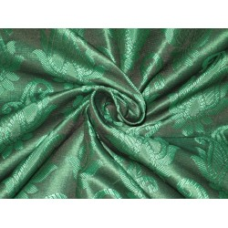 Brocade fabric Emerald Green Color