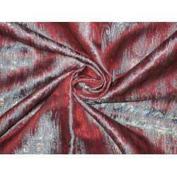 100% Pure SILK BROCADE FABRIC Blue,Red &Cream