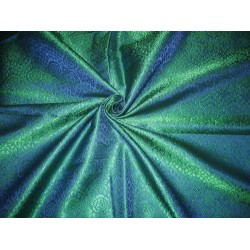 viscose /Silk Brocade fabric Peacock Blue & Green