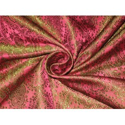 "Silk Brocade fabric Pink & Green color 44""BRO129[4] by the yard"