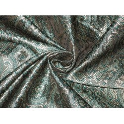 Silk Brocade fabric Teel,Black & Golden Cream