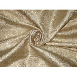 100% Pure Silk Brocade fabric Golden Cream Colour