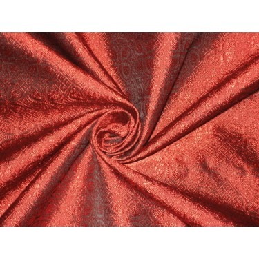 Silk Brocade fabric Red & Black colour BRO129[5]