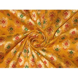 Pure Silk Brocade Fabric Gold,Green,Red & Yellow