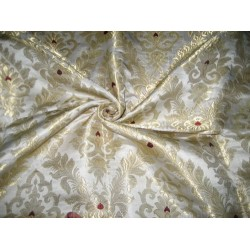 Heavy Silk Brocade Fabric Ivory,Wine &Metalic Gold