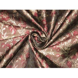 Silk Brocade Fabric Black,Gold & Wine Red 44""