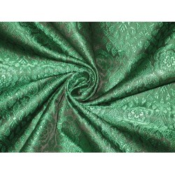 "Silk Brocade fabric Black & Green Colour 44""BRO134[5] by the yard"
