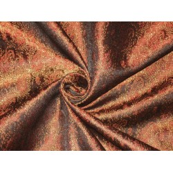 Silk Brocade fabric Black,Brown & Red Colour