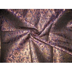 silk Brocade Fabric Light&Dark Purple & metallic bronze