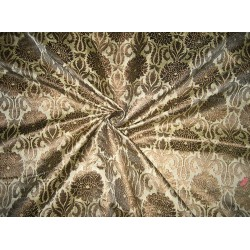 Pure Silk Brocade fabric Golden Cream & Metallic Gold
