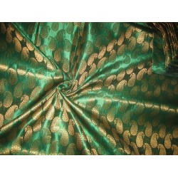 Pure Silk Brocade fabric Green & Metallic Gold 44""